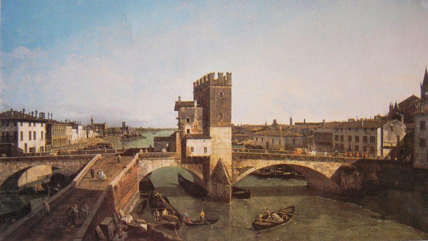 Una vista de Verona con Il Ponte delle Navi - Bernardo Bellotto